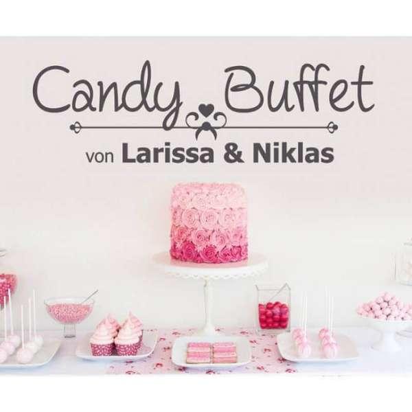 Personalisierbare Wandtattoo Candy Buffet in schwarz