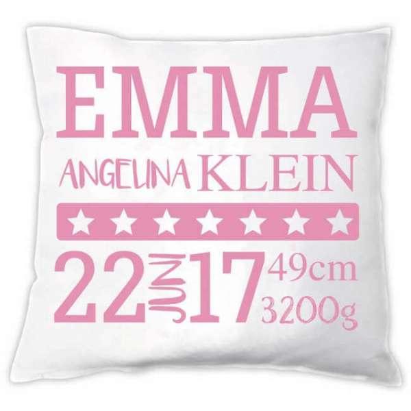 Personalisierbares Babykissen mit Namen, Geburtsdatum, Gewicht, Grösse in rosa