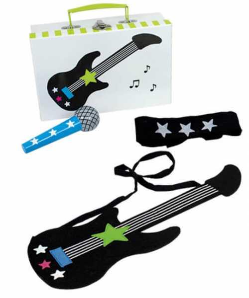 Spielkoffer Popstar enthält eine Gitarre,Mikrofon und ein cooles Stirnband