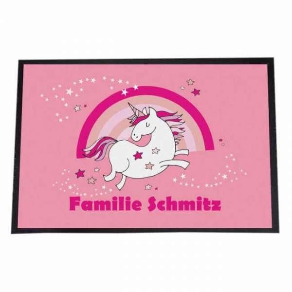 Personalisierbare Fussmatte Einhorn mit Familienname in pink