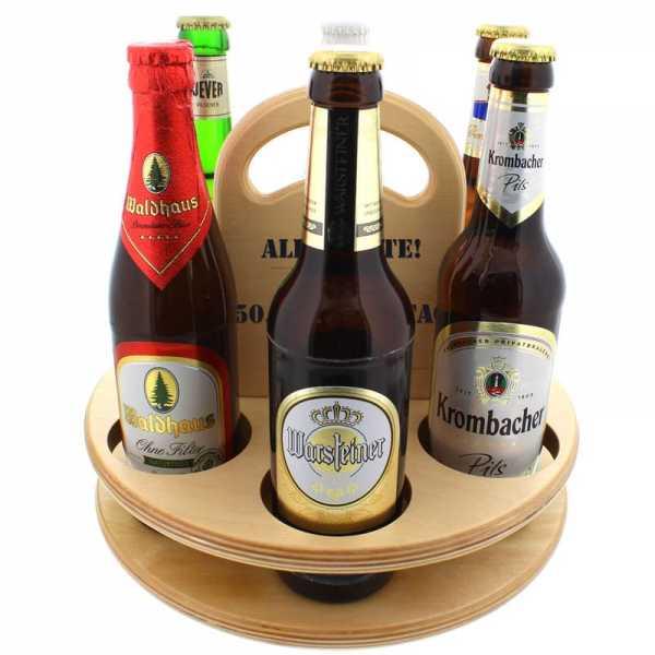 Personalisierbares Bierträger aus Holz mit sechs Flaschen Bier