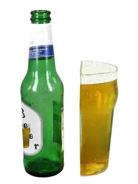 Bierglas half pint mit Bierflasche