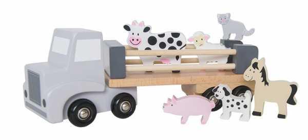 Tiertransporter aus Holz mit 6 Tieren dazu