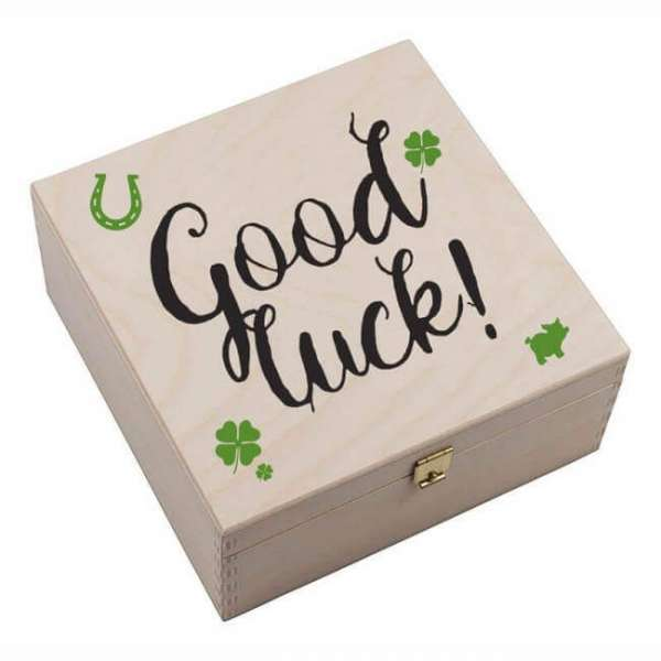 Personalisierbares Hufeisen Good Luck mit Holzbox