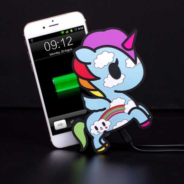 Einhorn Powerbank am Iphone laden