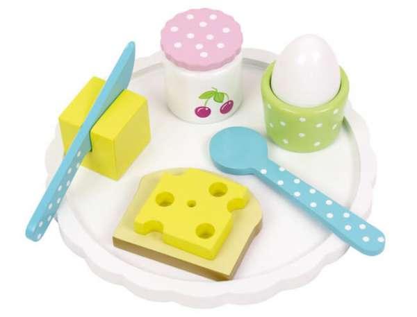 Holzspielzeug Frühstück mit Teller, Besteck, Eierbecher und Salzstreuer