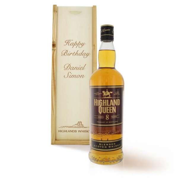 Personalisierbare Whisky Highland Queen Scotch fine 8 Jahre alt mit Holz Geschenkbox
