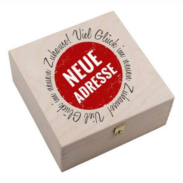 """Personalisierbares """"Hufeisen neue Adresse"""" mit Holzbox"""