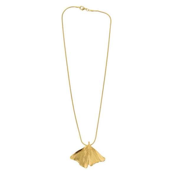 Personalisierbarer Anhänger Ginko vergoldet mit Halskette