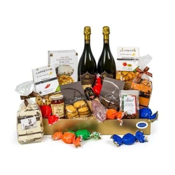 Geschenkkorb Apero Ciclamino mit Prosecco und verschiedene Italienische Köstlichkeiten