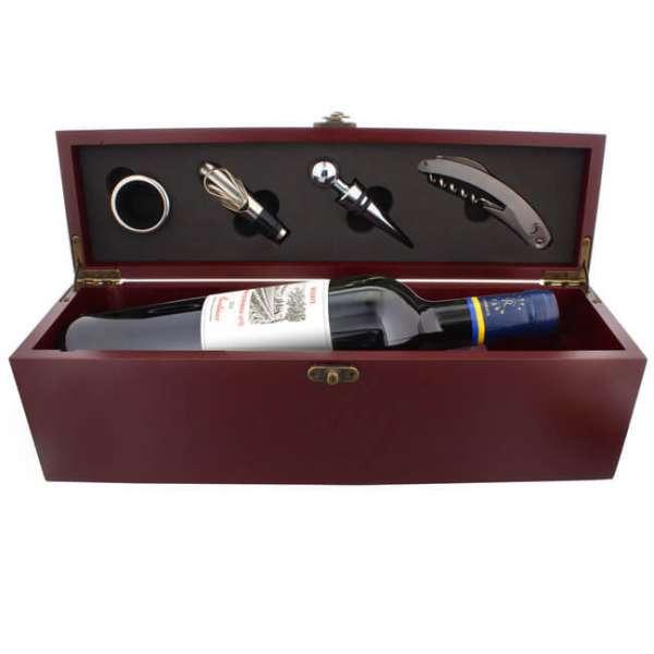 Sommelier-Set Rothschild mit Zubehör und Kiste in Mahagoni-Optik personalisierbar